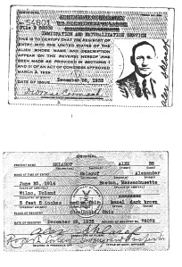 SKLAROF, Alex Immig and Nat Card 1933