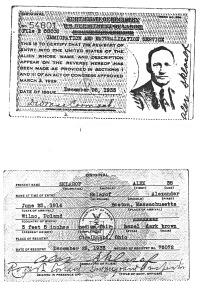 SKLAROF, Alex Immig and Nat Card 1933
