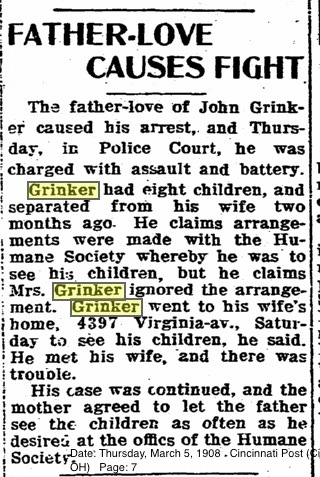 John Grinker Domestic Assault 1908