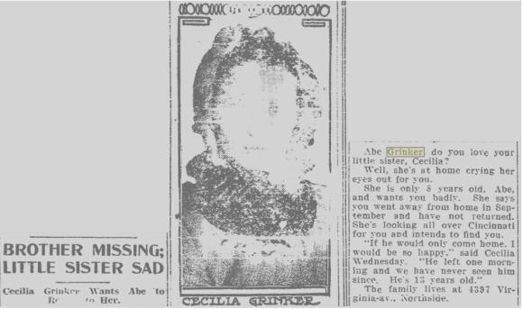 GRINKER Celia news item 1908