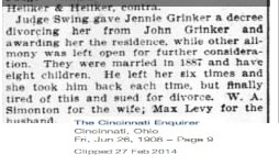 Jennie Grinker divorces John