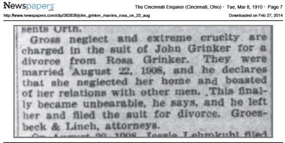 John Grinker divorces Rosa 1910