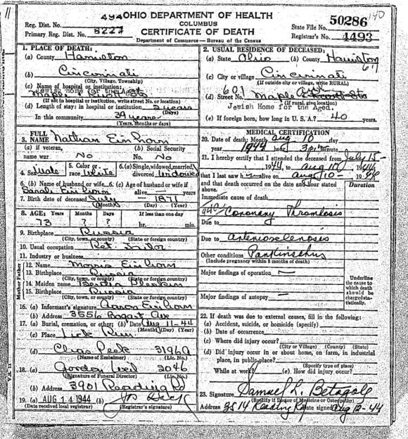 EINHORN, Nathan death cert 1944