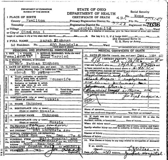 EINHORN, Sarah 1942 death